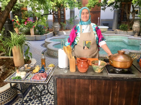 Wafae the chef at Fez Cooking School